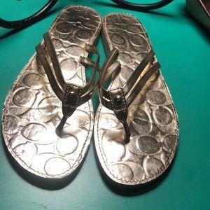 Coach Goldtone Flip Flop Sandals 8